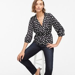 J crew polka dot peplum satin top